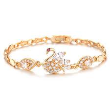 ladies gold bracelet design images 2015 latest ladies cute swan design 18k solid gold bracelet buy jpg