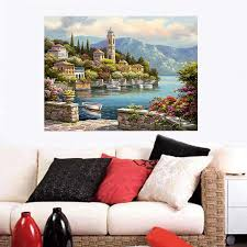online get cheap paint chinese paintings by numbers aliexpress new diy paint by number kit digital oil painting canvas romantic harbour 50x40cm for home decorations