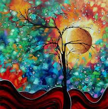 abstract art original whimsical modern landscape painting bursting