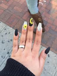 sun flower nail design cute strips black and white yellow