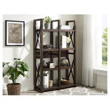 Rustic Room Dividers by Wildwood Rustic Wood Veneer Bookcase Room Divider Altra Target