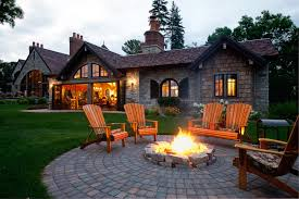 Backyard Pit Patio Fire Pit Ideas Patio Industrial With Adirondack Chairs