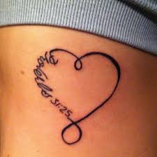 unique black outline heart tattoo on right side rib