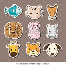 vector illustration of cute animal face stickers csp11359720