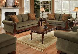 green fabric traditional sofa u0026 loveseat set w carved wood legs