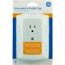 home theater wall plate ge 6 outlet grounded in wall tap with resettable circuit breaker
