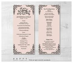 ceremony program template rustic leaves ceremony program templates happy digital