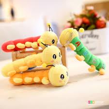 6pcs 16cm colorful caterpillar plush dolls car key chain