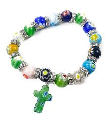 cross beads bracelet images Agate colorful flowers beads stretch bracelet with catholic cross jpg