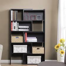 minimalist floating curvy black wooden desk with shelf on white