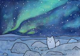 how to paint northern lights arctic fox northern lights christmas card studiotuesday