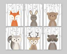Raccoon Nursery Decor Woodland Nursery Decor Fox Deer Raccoon Owl Woodland Animals