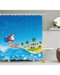 Surfer Shower Curtain Great Deals On Christmas Shower Curtain Set Surfing Santa On A