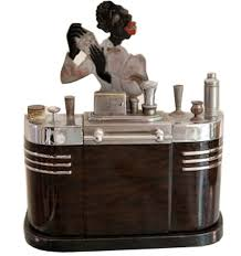 impressive figural deco ronson touch smoker s stand touch tip lighter and cigarette box 1936 ronson