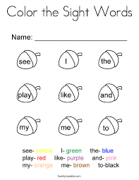 ideas of color sight word worksheets with summary shishita world com