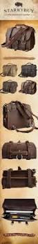Cowhide Briefcase Handmade Leather Men Briefcase Messenger Vintage Shoulder Laptop