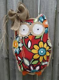 items similar to ready to ship owl burlap door hanger door