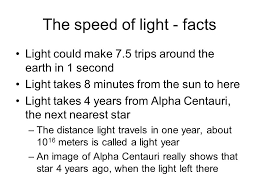How Many Years Is A Light Year The Speed Of Light Notes The Speed Of Light Written C Is C