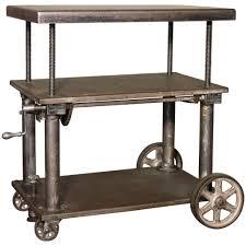 Metal Adjustable Shelving Rolling Table Bar Cart Vintage Industrial Adjustable Steel Metal