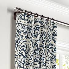 Paisley Shower Curtain Blue by White Navy Blue Paisley Curtain Ring Top Front Curtains