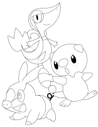 coloring pages pokemon oshawott snivy and tepig google search