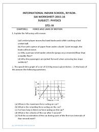 physics worksheet 3 class ix force and laws of motion momentum
