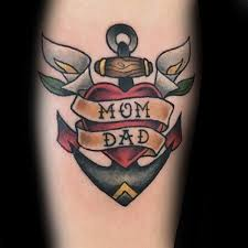 small traditional mom and dad memorial heart and anchor forearm