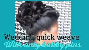 quick weave wedding up do using bobby pins must watch youtube