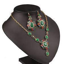 colour gold necklace images Vintage look turkish jewelry sets multi colour gold color chunky jpg