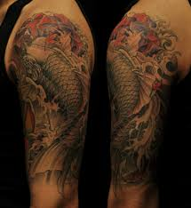 koi fish tattoo on arm half sleeve koi fish tattoo chronic ink