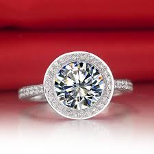 big engagement rings images Excellent 3 carat big stone round cut halo style nscd lc diamond jpg