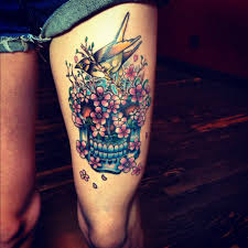 colorful roses and sugar skull tattoos on side photos