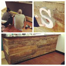 diy reclaimed barnwood reception desk there is plenty of lumber