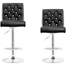 black faux leather tufted with crystal buttons adjustable swivel