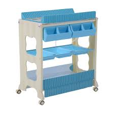rolling baby changing table homcom multi use baby changer changing table bath station storage