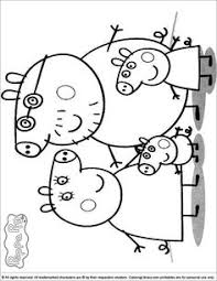 peppa pig family coloring kids printable