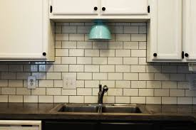 Gray Backsplash Kitchen by Subway Tile Colors Glossy Parquet Floor Molded Glass Pendant Lamp