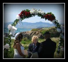 wedding arches coast cambria wedding on moonstone drive with sand blending
