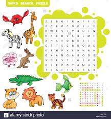 vector education game for children about animals word search