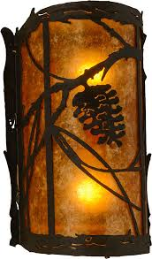 Rustic Sconce Meyda Tiffany 157371 Whispering Pines Rustic Oil Rubbed Bronze