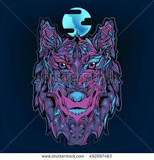 vector indian colored version wolf moon stock vector 492897463