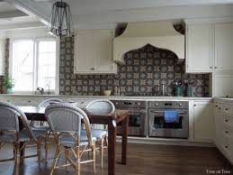l shape kitchen decoration using dark brown blue patterned