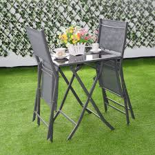 Folding Patio Furniture Set by 3 Pcs Bistro Outdoor Folding Furniture Set Outdoor Furniture