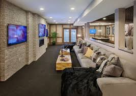 interior home columns contemporary home theater with carpet high ceiling columns