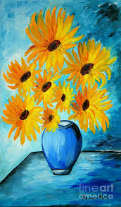 Vase Of Sunflowers Beautiful Sunflowers In Blue Vase Painting By Ramona Matei