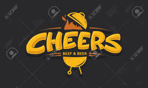 cartoon beer cheers cheers lettering vector logo sketch with grill bbq and beer beef