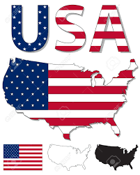 Plain Map Of Usa by Outline Map Of Usa Filled With Usa Flag Royalty Free Cliparts