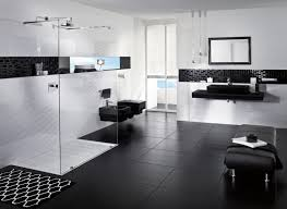 luxurious black white bathroom installed on tiled flooring