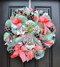 ribbon wreaths cross wreath in mint coral and black with quatrefoil