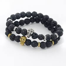 skull bracelet charms images Men cool skull beaded bracelets bangles gold color lava charm yoga jpg